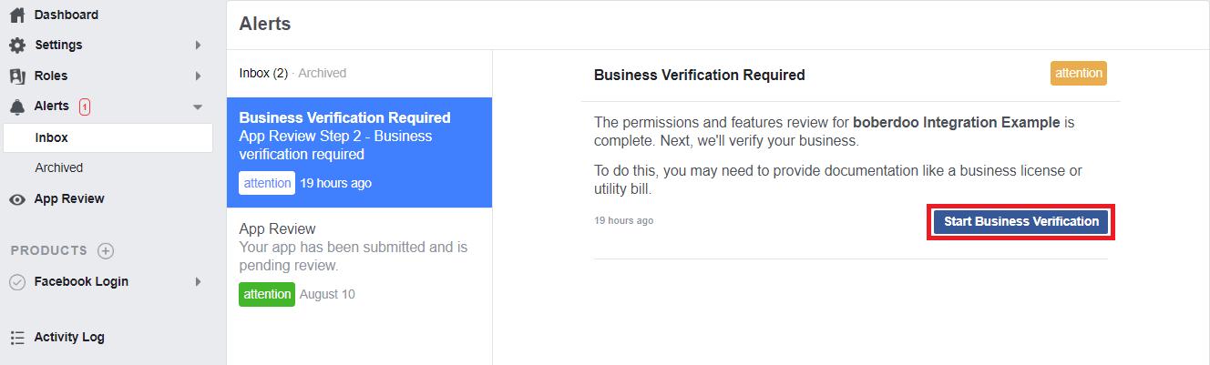 Facebook business verification