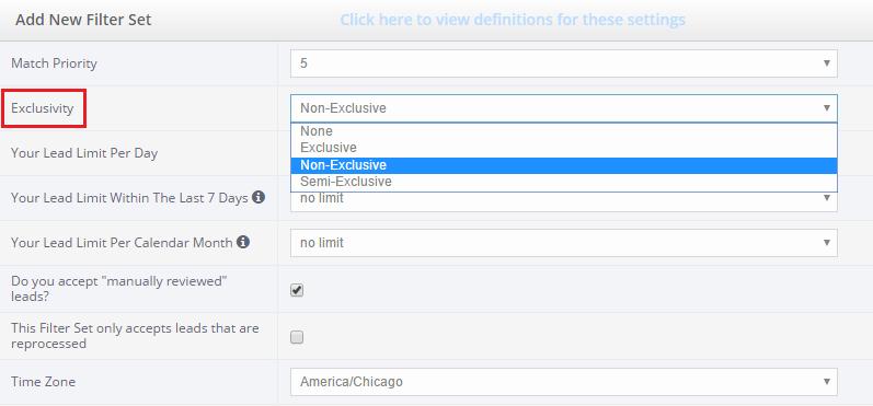 filter set exclusivity