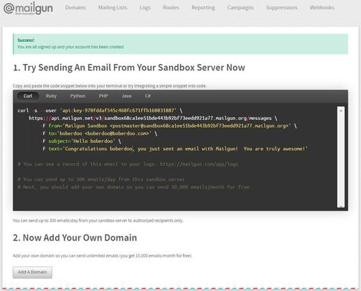 integrate mailgun