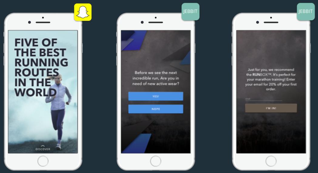 snapchat lead generation jebbit screenshot